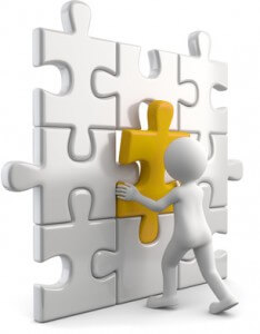 Männchen mit passendem Puzzleteil